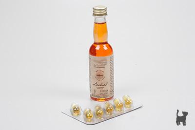 Lachsöl in Kapseln und in der Flasche