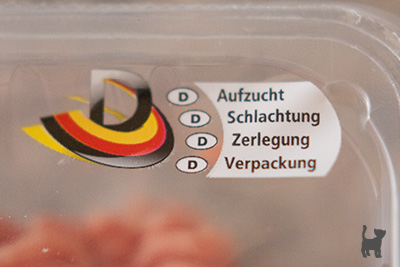 Aufdruck einer Schweinefleisch-Verpackung